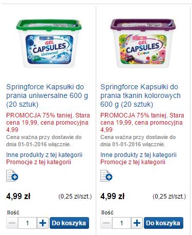 Kapsułki do prania (20szt/600g) Springforce za 4,99zł (-75%) @ eZakupy Tesco