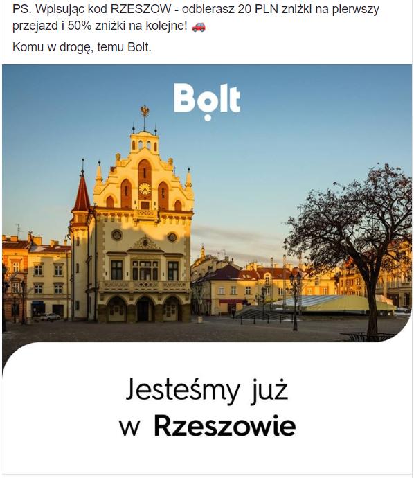 BOLT -20zł na pierwszy przejazd z kodem RZESZOW (lokalna)