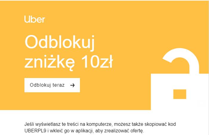 UBER 10 zł na przejazd - tylko dla osób które dostały e-mail