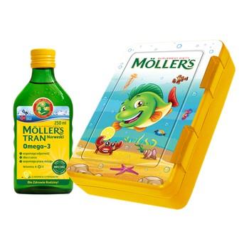 Moller's Tran Norweski, aromat cytrynowy, 250 ml + lunchbox