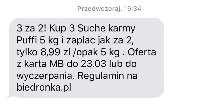 Karma sucha dla psa Puffy - Biedronka - błąd cenowy 3za1. W regulaminie jest 3za2.
