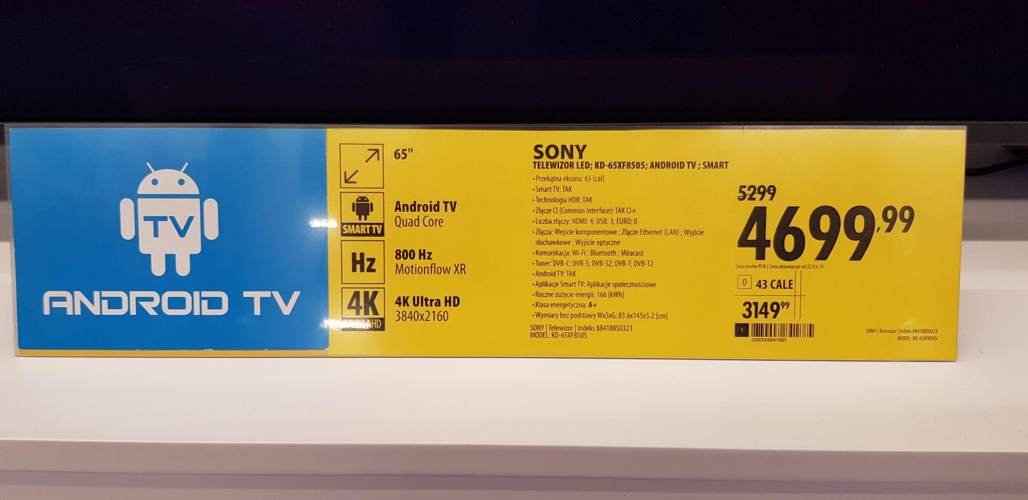 Telewizor Sony Bravia 65XF8505 w stacjonarnej sprzedazy Mediaexpert