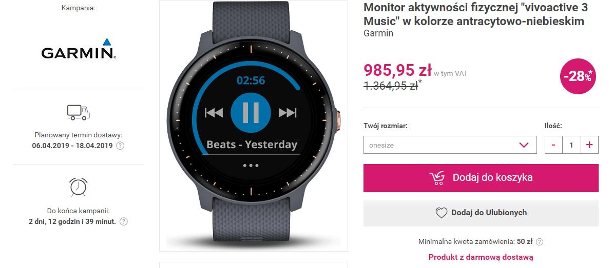 """Monitor aktywności fizycznej """"Garmin Vivoactive 3 Music"""""""
