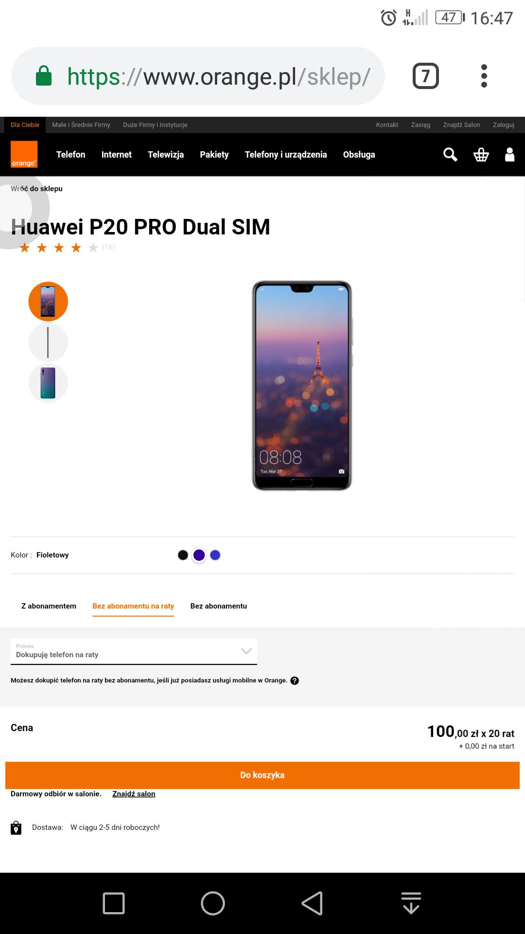 Huawei P20 PRO 6/128 3 kolory 100zł x 20 rat