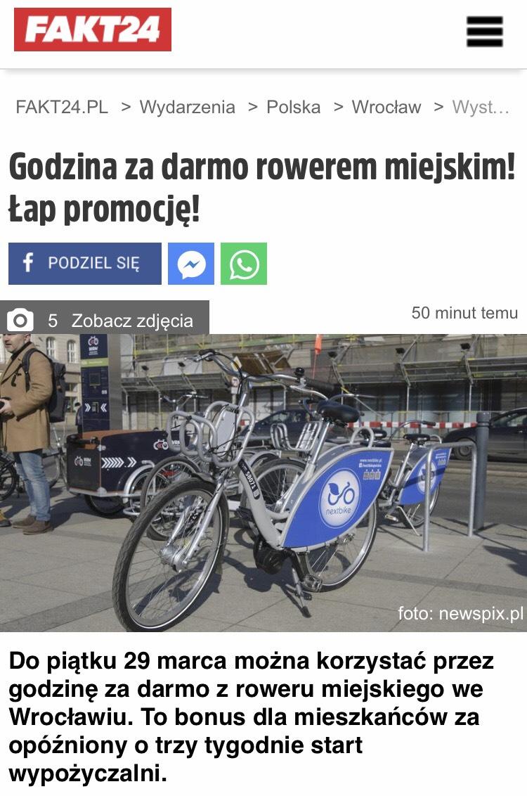 Godzina za darmo rowerem miejskim we Wrocławiu!