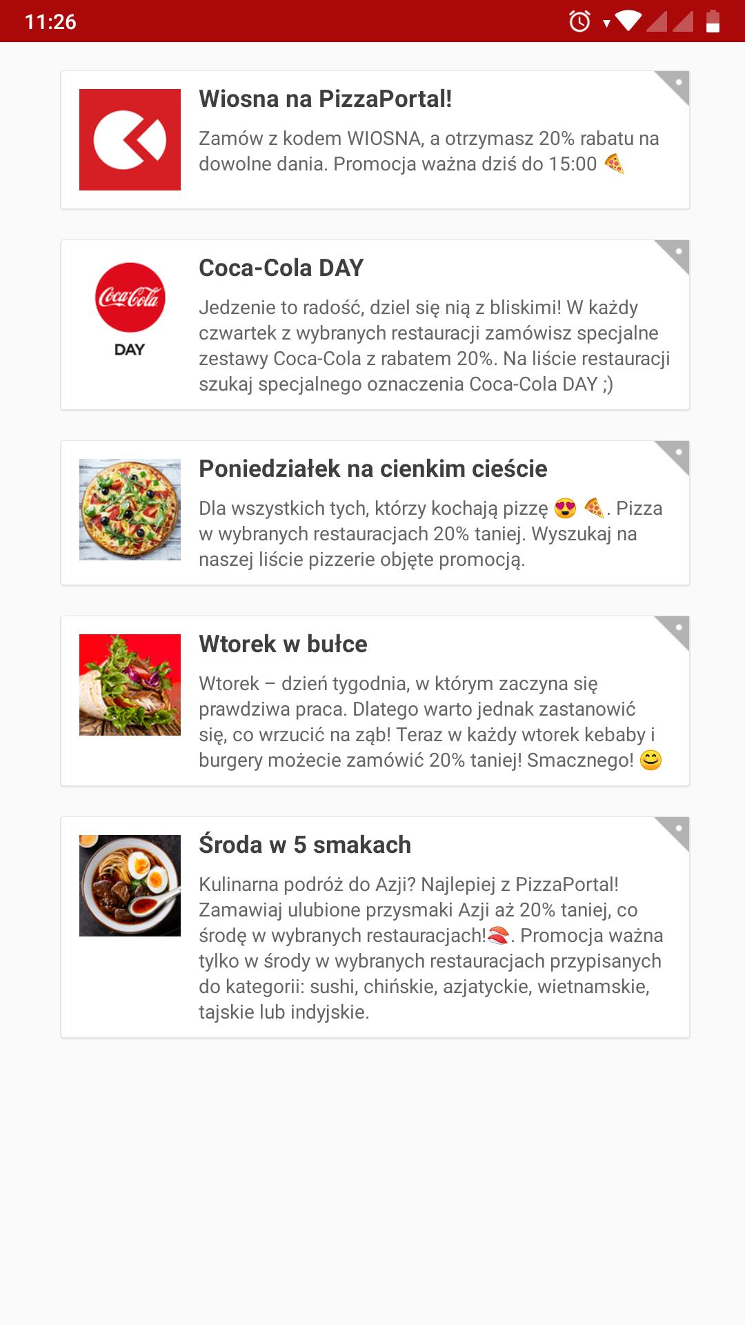 Rabat -20% Pizza portal do 15 na dowolne danie