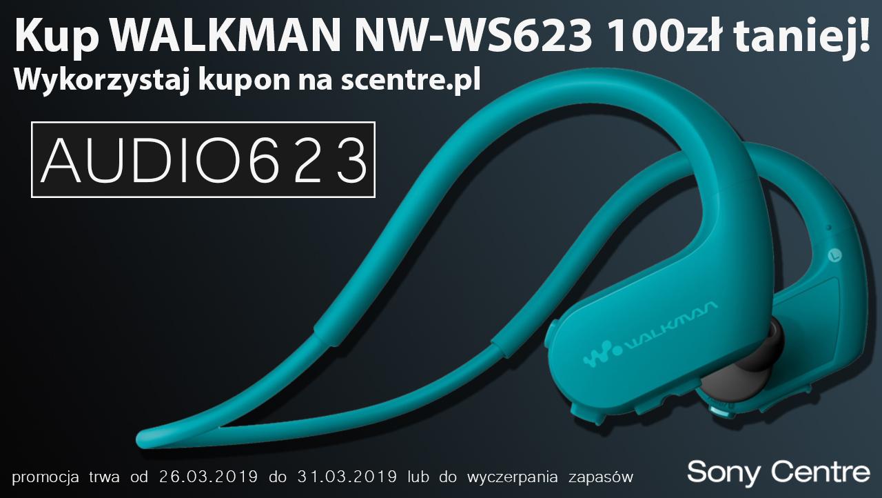 SONY WALKMAN NW-WS623 wodoodporne słuchawki taniej o 100zł na scentre.pl