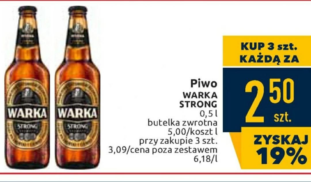 Warka strong butelka 3x 0,5l za 2,50/szt. @ Carrefour