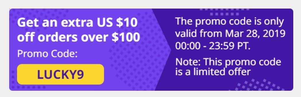 10$/100$ dodatkowego rabatu na wszystko w aliexpress.