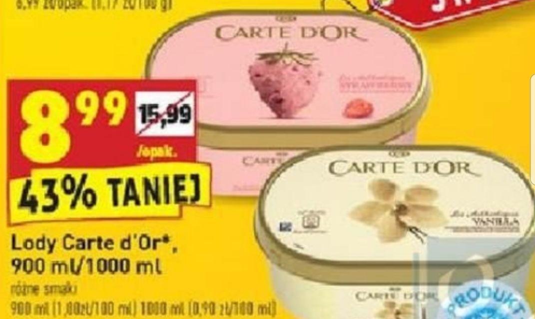 Lody Carte d'Or 900/1000ml różne smaki. Biedronka. Tylko 31.03 (Niedziela)