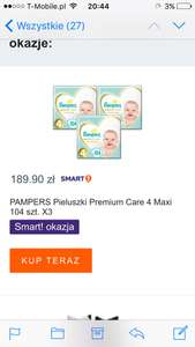 Pampers premium care 4 0,60zł/szt.