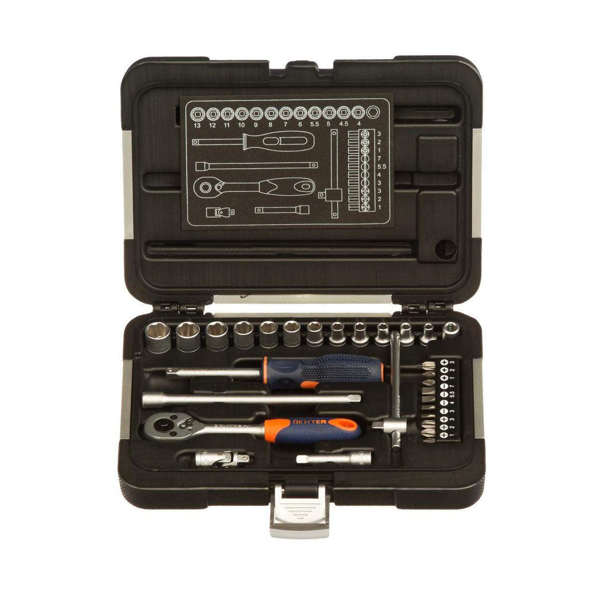 Zestaw  narzędzi - kluczy nasadowych Dexter 182, 29 elementów, w Leroy