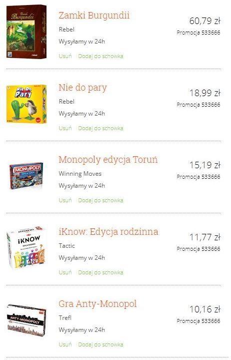 Wybór mocno przecenionych gier planszowych na merlin.pl
