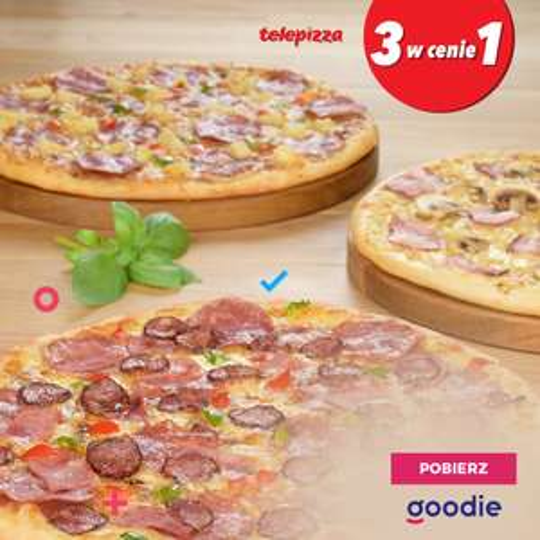 3 pizze w cenie 1 w Telepizzy z aplikacją goodie