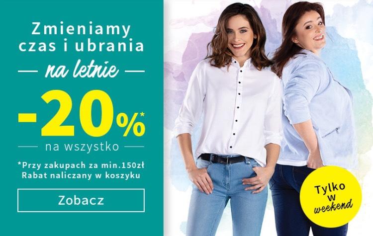 20% rabatu na całe zakupy przy zakupach za min.150zl