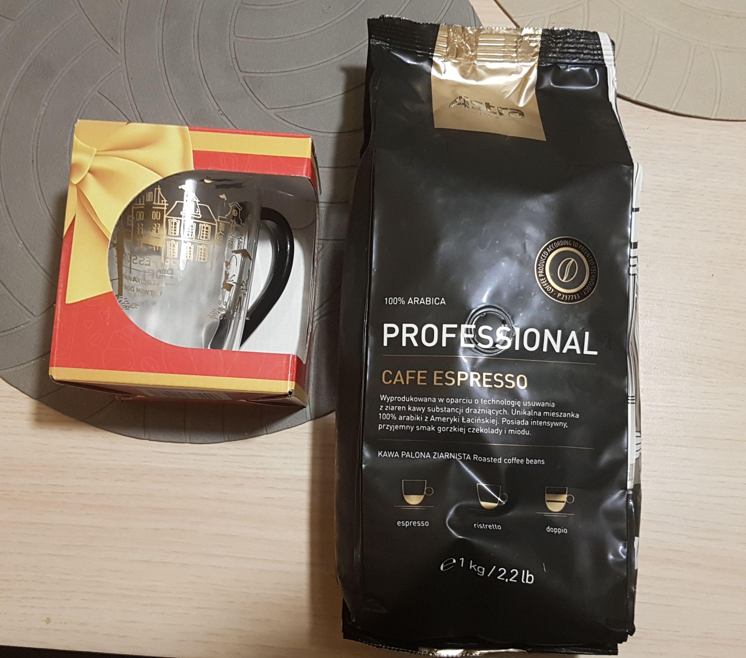 Kawa ziarnista Astra Professional Cafe Espresso 1kg + kubek @Netto