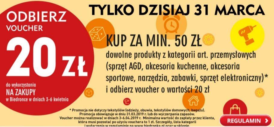 Voucher 20zł przy zakupie art. przemysłowych za 50 zł tylko 31.03 @Biedronka