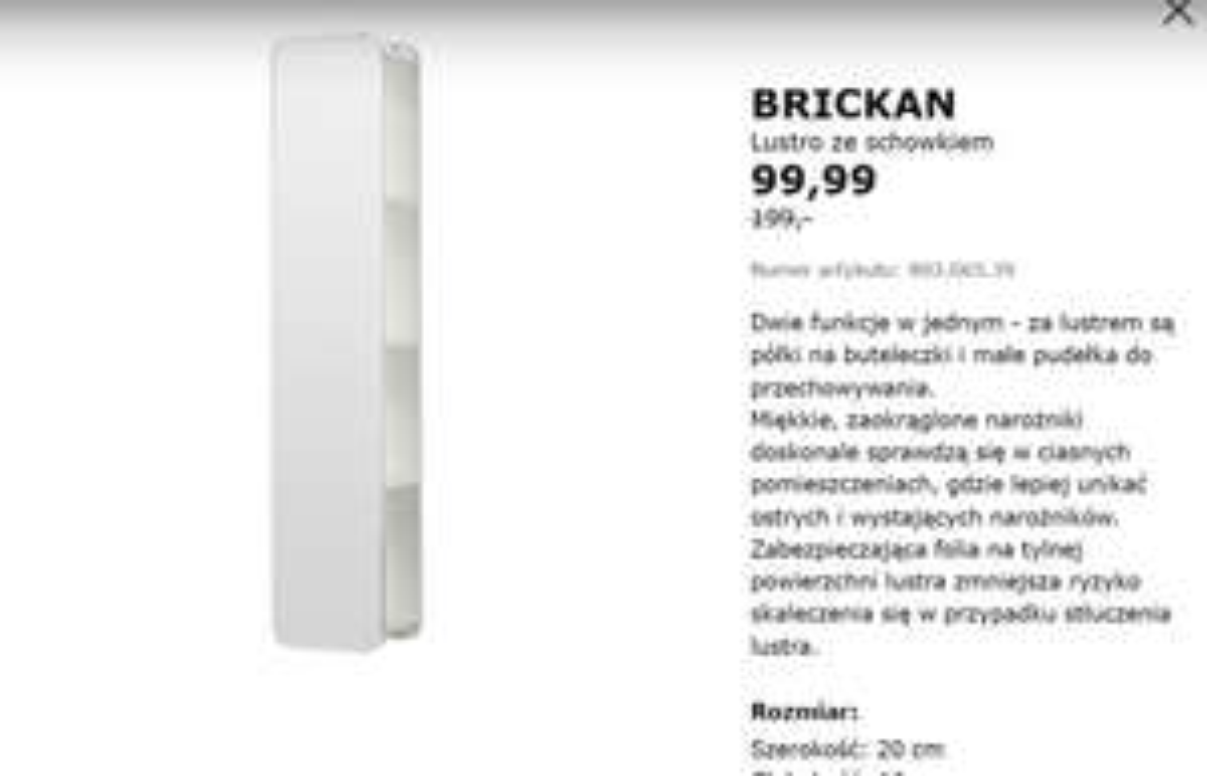 Lustro z szafkami IKEA BRICKAN