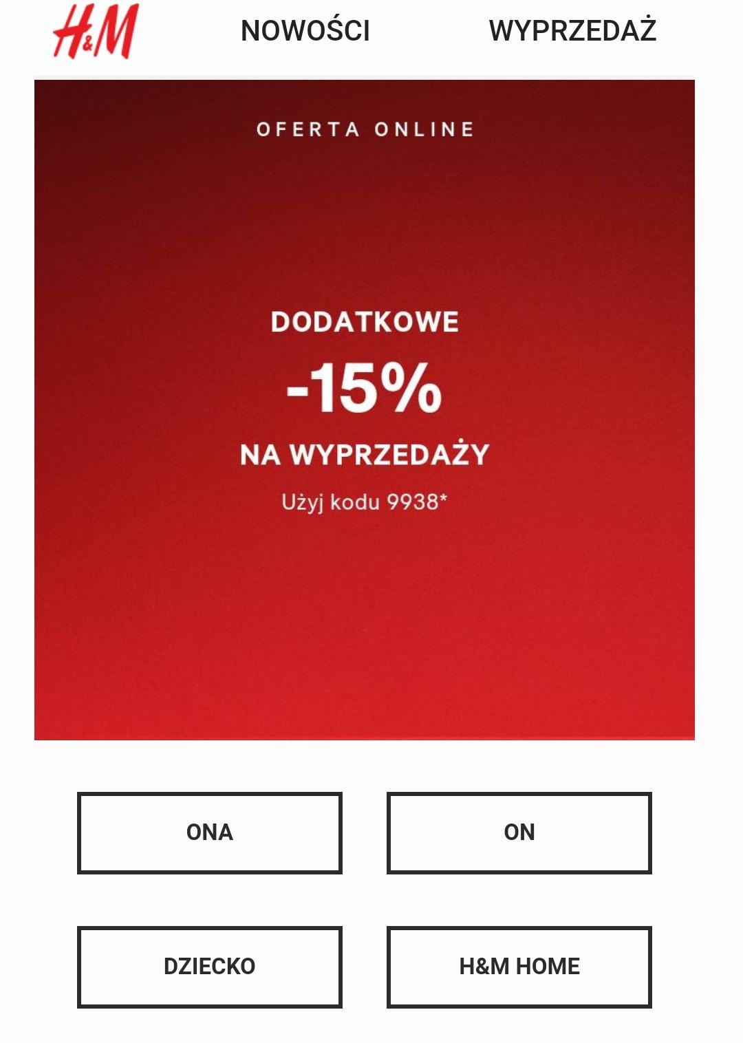 H&M Dodatkowe -15% na wyprzedaż online
