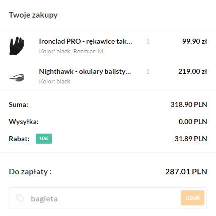 10% rabatu na specbrands.pl - OKULARY BALISTYCZNE i RĘKAWICE TAKTYCZNE