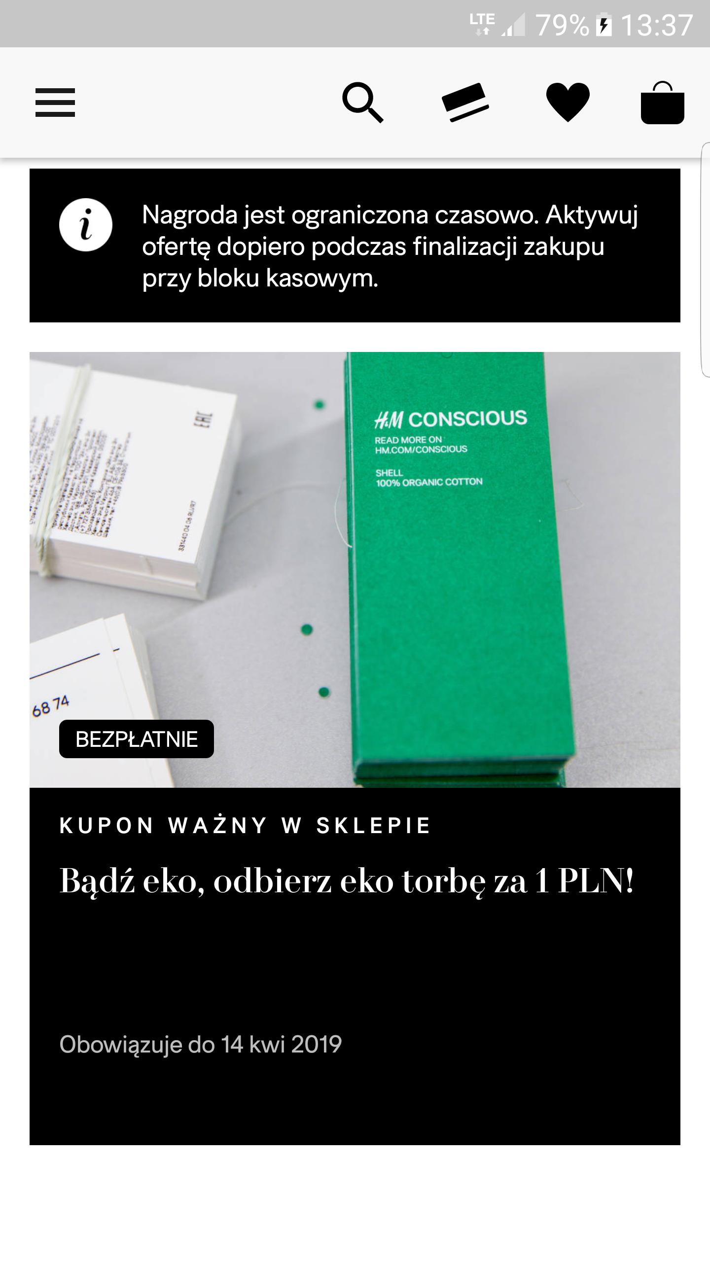 H&M akcja bądź Eko, odbierz eko torbę za 1zł