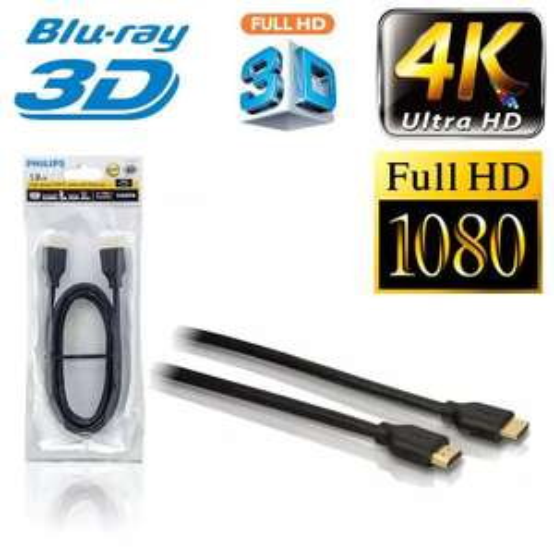 Pozłacany kabel HDMI-HDMI Philips SWV5401H High Speed 4K 3D 1,8m, hipermarket bi1 Białystok