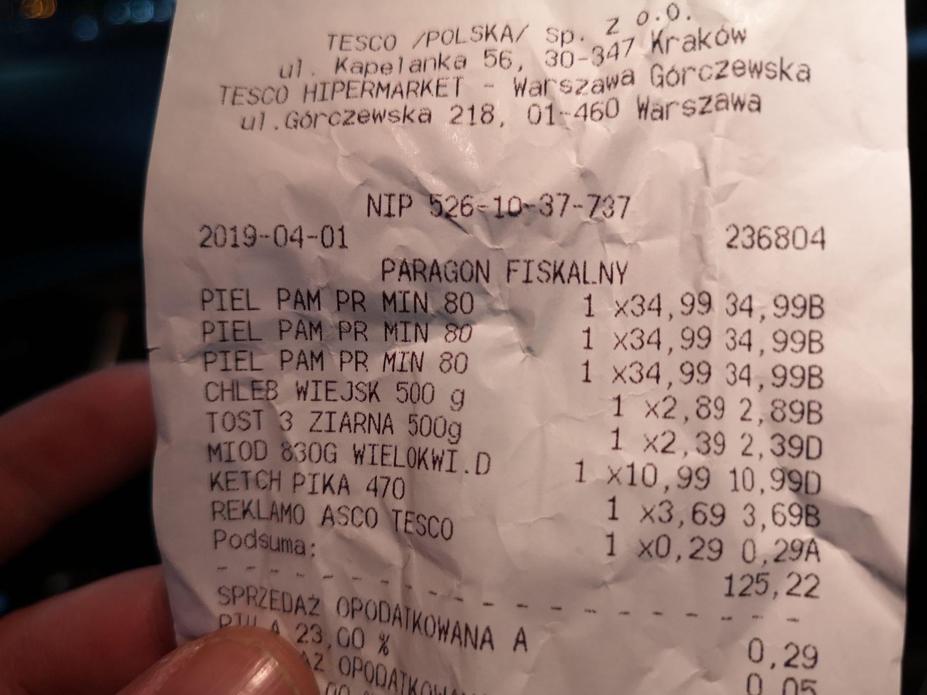 Błąd cenowy pieluchy pampers w TESCO Warszawa