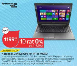 Laptop Lenovo G50-70 (i3, 4GB RAM, 500GB dysk, Windows) @ Tesco