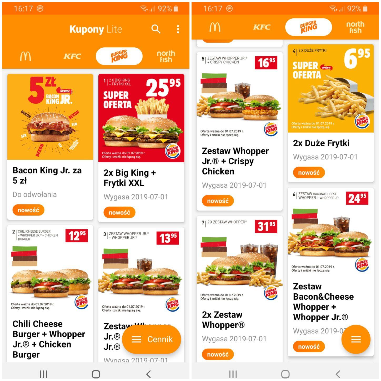 Kupony Burger King - do lipca 2019