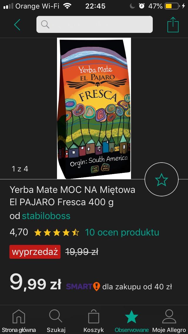 Yerba Mate MOCNA Miętowa El PAJARO Fresca 400 g