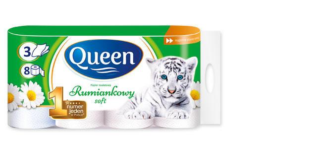 Papier toaletowy rumiankowy Queen 8 rolek, 3 warstwy biedronka