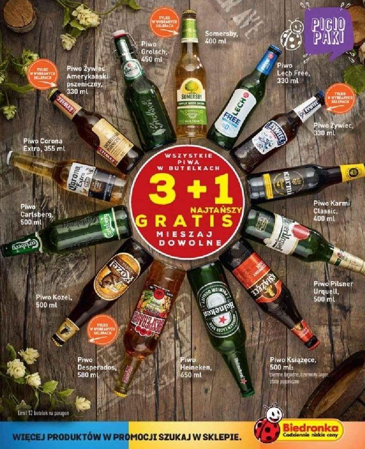 3+1 gratis - wszystkie piwa butelkowe (można mieszać) [Budweiser za 1,87zł!] @ Biedronka
