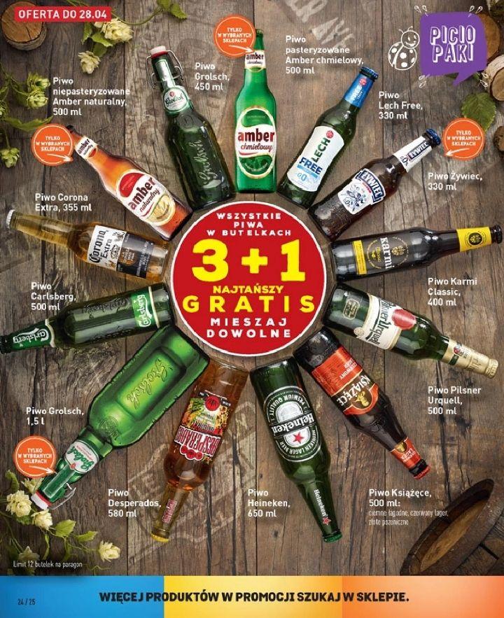 3+1 gratis - wszystkie piwa butelkowe (od g. 9.00 najtańsze gratis) @ Biedronka