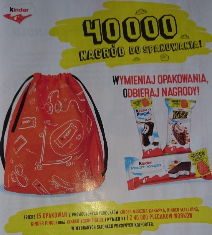 1 z 40 000 plecaków-worków za 15 opakowań produktów promocyjnych Kinder @ Kolporter