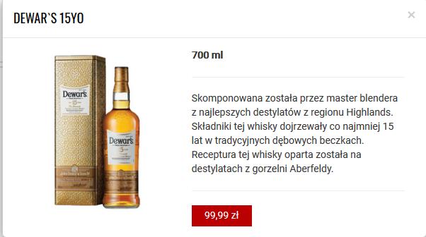 Whisky Dewar's 15Yo 700ml w sklepach AlCapone