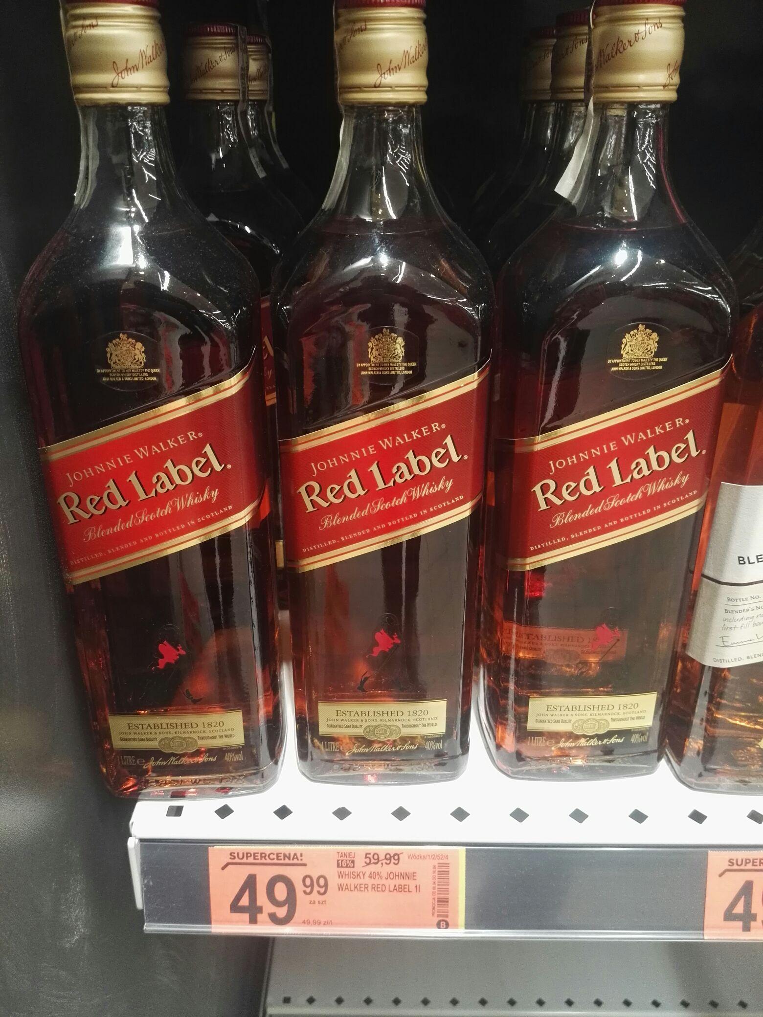1 litr Johnnie Walker red Biedronka 49.99