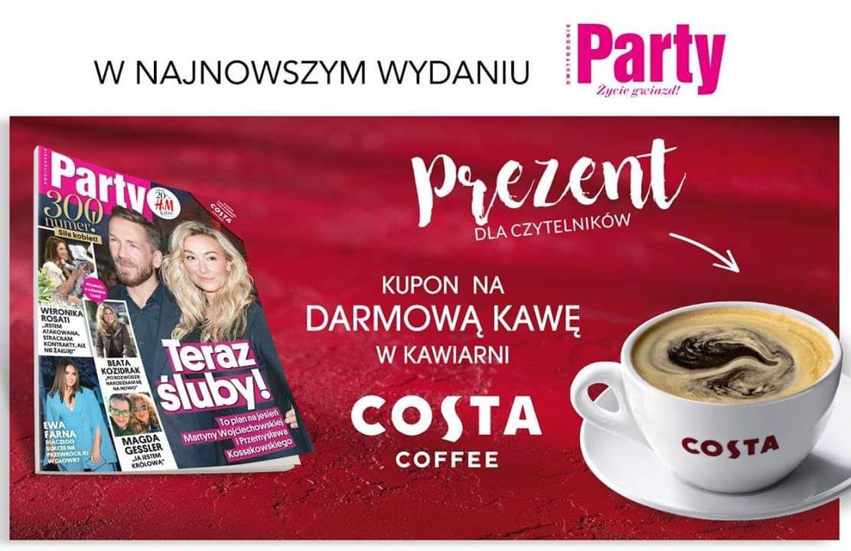 Kupon na DARMOWĄ kawę w kawiarni COSTA COFFEE, w gazecie Party!