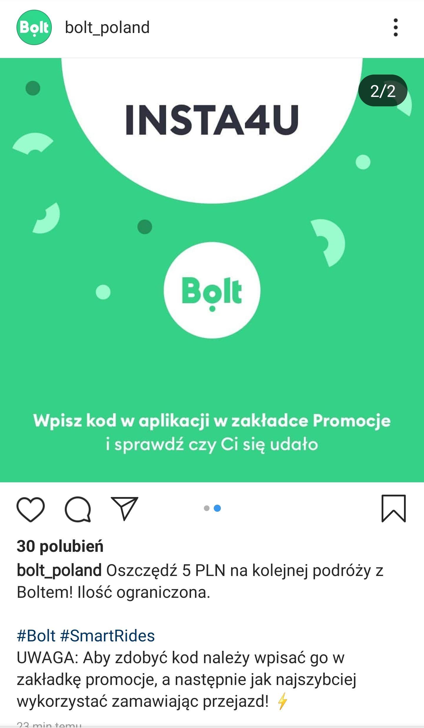 Zniżka 5 zł na następny przejazd Bolt ( Taxify )