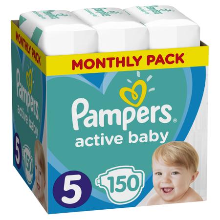 """Pieluchy Pampers Active Baby """"5"""" Junior 150szt. możliwe 96,99zł"""