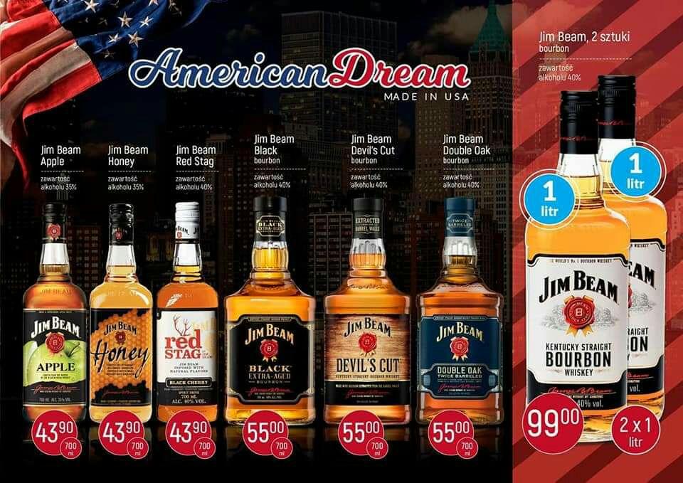 Zestaw whiskey 2 x 1L Jeam Beam oraz inne alkohole,Irlandzka,Szkocka,Single Malt