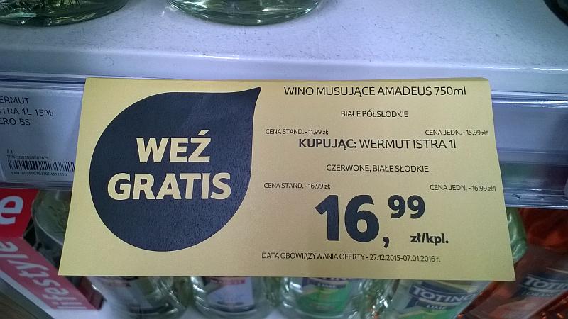 Kupując wermut Istra 1 litr GRATIS Amadeus 0.75 @ Tesco