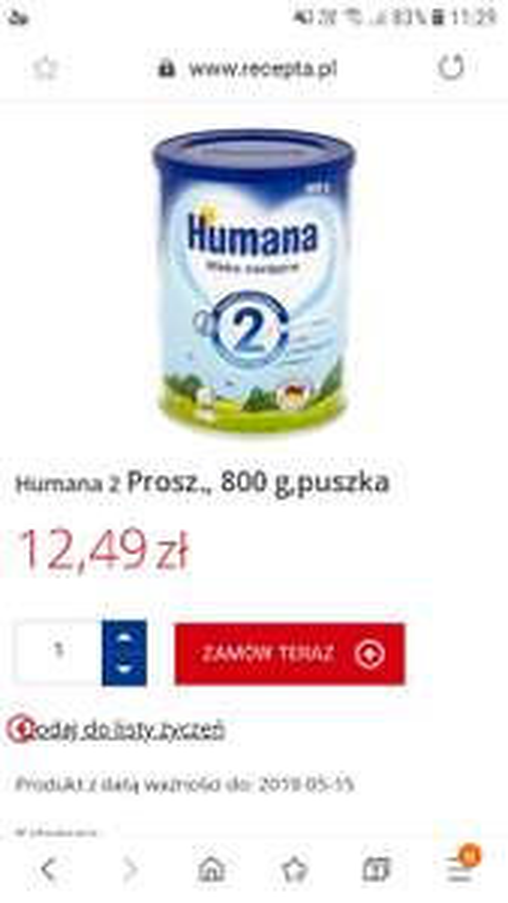 Mleko Humana 2 , 800g,  data 05/2019