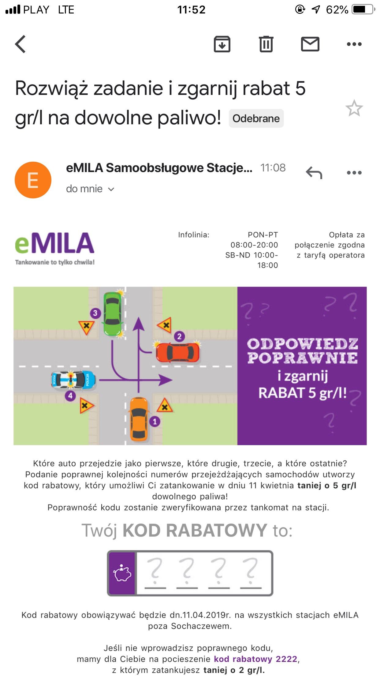 Rabat 5 gr/l na dowolne paliwo! - eMILA