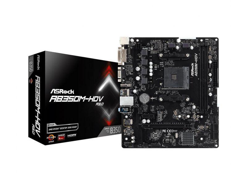 Płyta główna Asrock AB350M-HDV R3.0 DDR4 DIMM AM4 Micro ATX RAID SATA  W @sferis