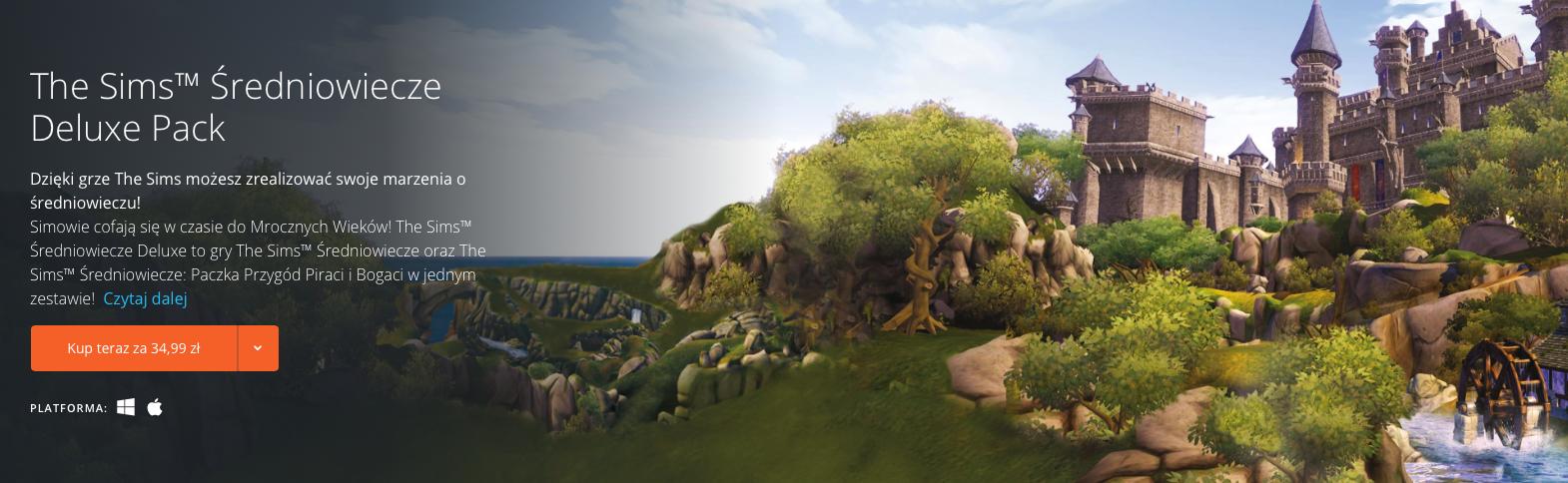 The Sims Sredniowiecze Deluxe Pack na stałe za 35 złotych na Origin
