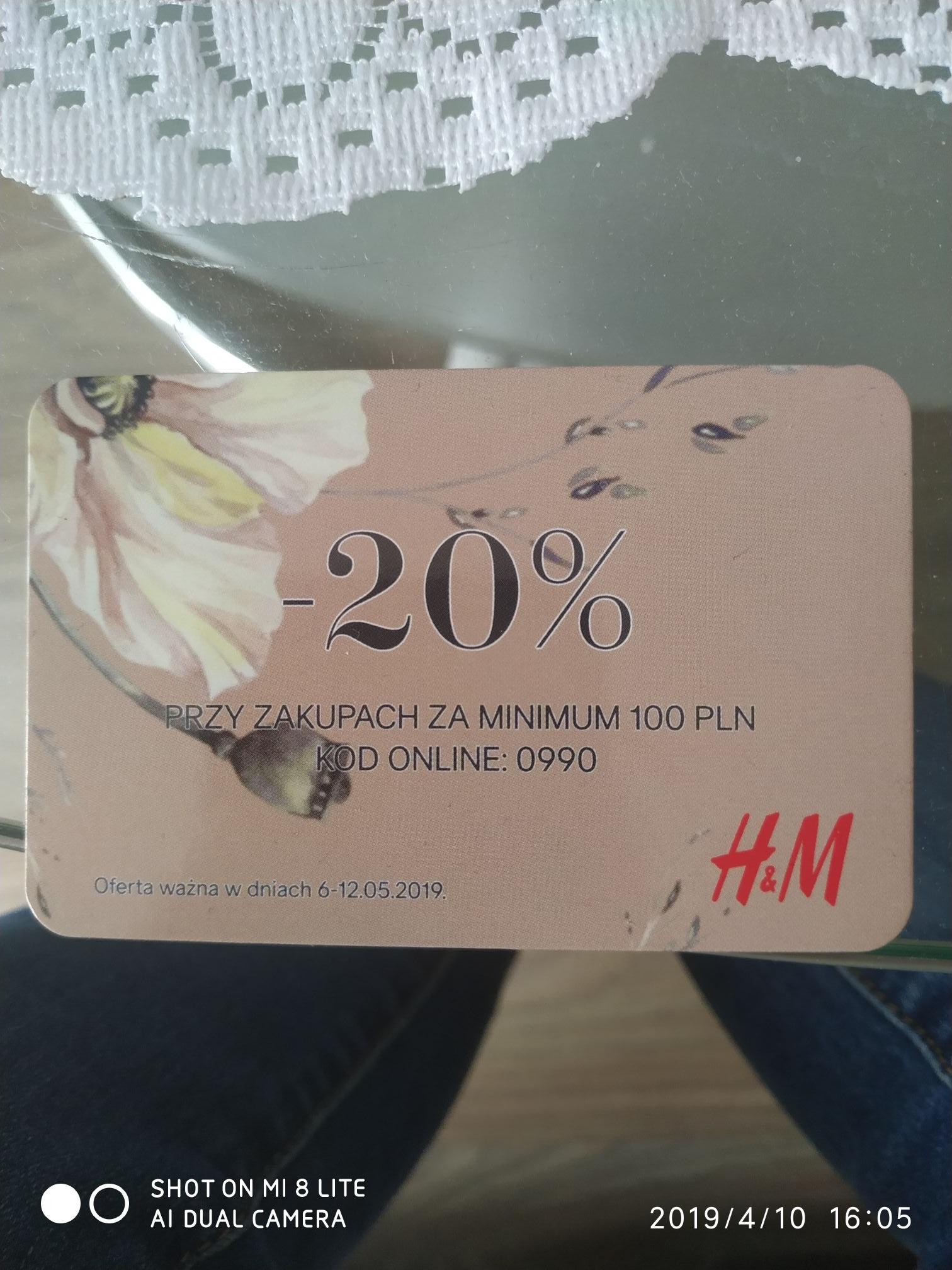 -20% rabatu na zakupy za min.100zł w H&M online z kodem 0990