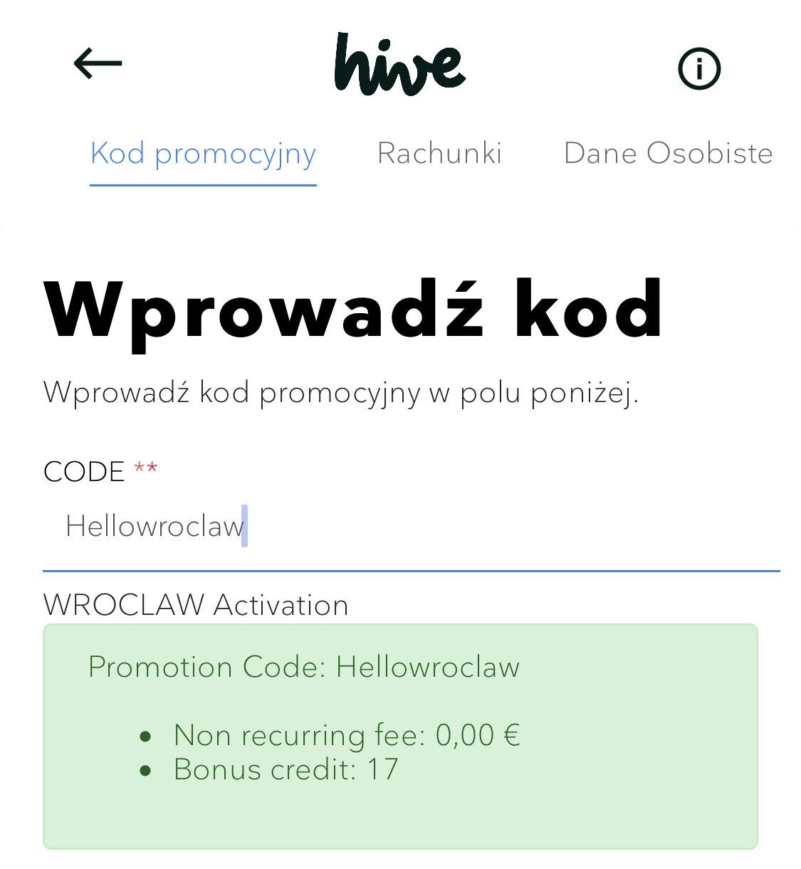Hive wita Wrocław i daje 17 minut gratis