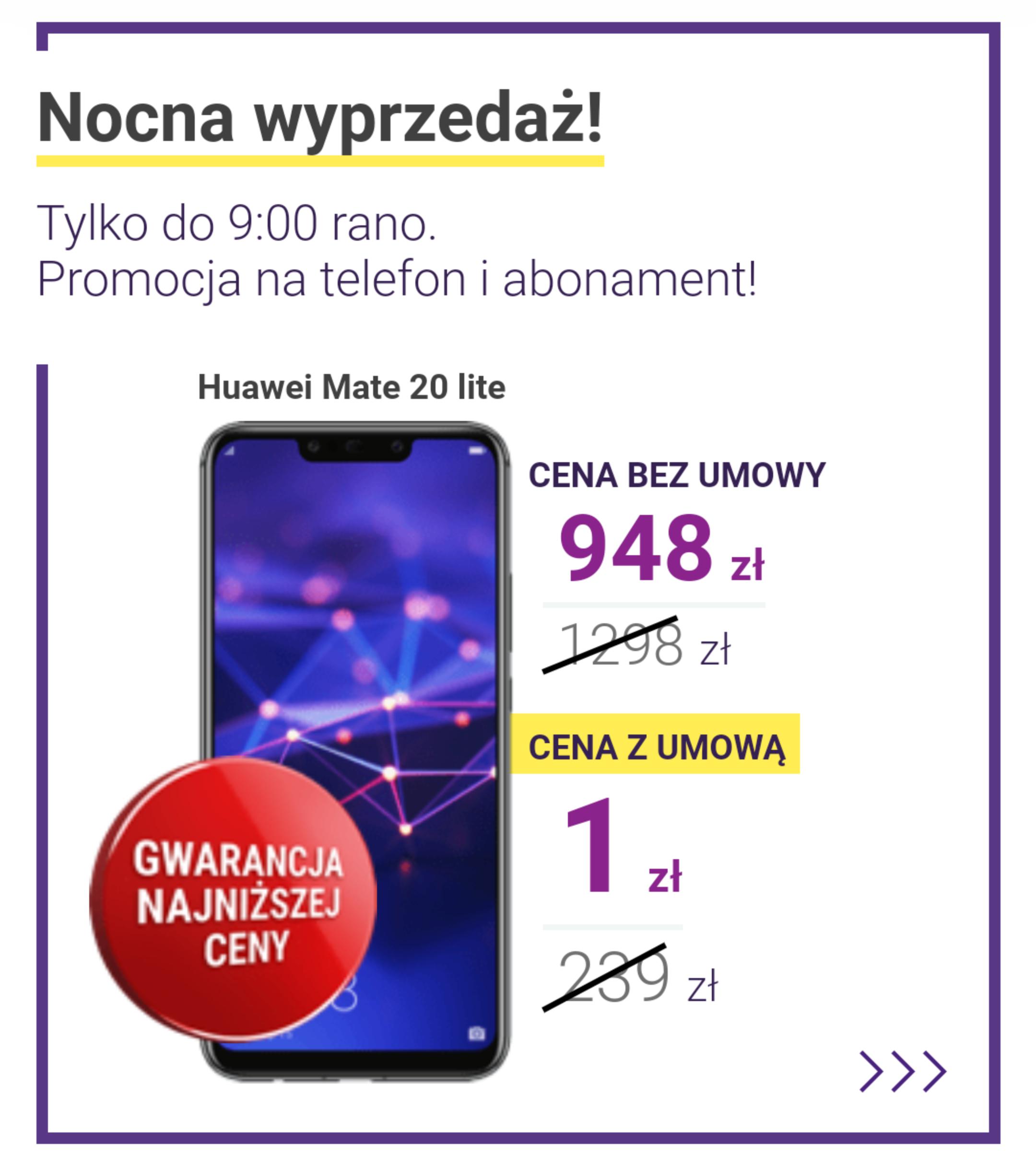 Huawei Mate 20 Lite czarny w Play za 948 zł bez abo