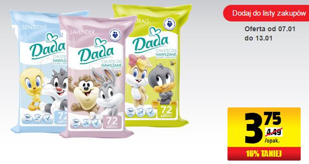 Chusteczki nawilżane dla dzieci firmy Dada w cenie 3,75zł za opakowanie (72szt.) @ Biedronka
