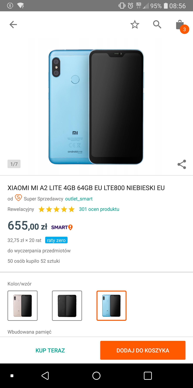 Fajny Xiaomi a2 lite 64gb w ratach 0% + darmowa wysyłka dla allegro smart